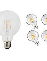 abordables -5pcs 4W 360 lm E26/E27 Bombillas de Filamento LED G95 4 leds COB Decorativa Blanco Cálido 220-240V