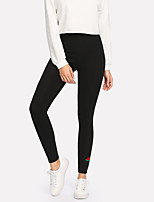 abordables -Femme Sportif Legging - Broderie Taille haute
