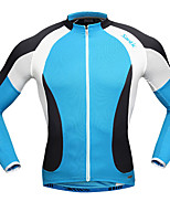 cheap -SANTIC Men's Long Sleeves Cycling Jersey - Blue/White Bike Jersey