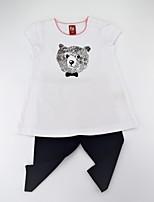 Недорогие -Девочки Набор одежды Повседневные Хлопок С животными принтами Лето С короткими рукавами На каждый день Белый