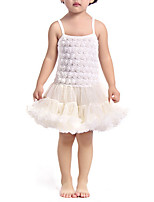 cheap -Girl's Daily Solid Colored Dress, Polyester Spring Sleeveless Cute Active White