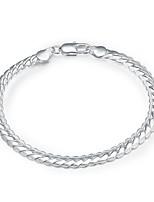 preiswerte -Herrn Damen Ketten- & Glieder-Armbänder Klassisch Grundlegend versilbert Schlange Schmuck Alltag Arbeit Modeschmuck Silber
