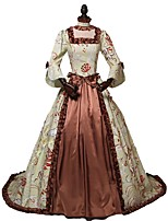 cheap -Victorian Rococo Costume Women's Adults' Dress Brown Vintage Cosplay Poly/Cotton 3/4 Length Sleeves Split