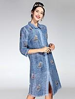 cheap -PROVERB Women's Casual Basic Shirt Dress - Floral Shirt Collar