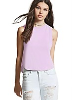 cheap -women's daily going out simple street chic summer tank top, solid round neck sleeveless cotton