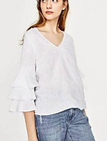 cheap -Women's Active Basic Petal Sleeve Blouse - Solid Colored V Neck