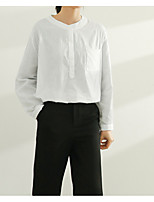 cheap -Women's Basic Cotton Loose Shirt - Solid Colored Shirt Collar