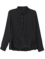 cheap -Women's Basic Blouse - Solid Colored Shirt Collar