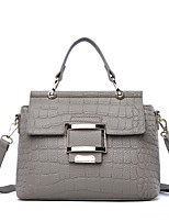 cheap -Women's Bags PU Tote Embossed for Casual Office & Career All Seasons Black Gray Purple Brown