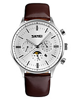 cheap -SKMEI Men's Quartz Dress Watch Fashion Watch Calendar / date / day Water Resistant / Water Proof Casual Watch Leather Band Luxury Elegant
