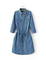 baratos -Mulheres Jaqueta jeans Casual Moda de Rua - Sólido Floral/Botânico Bordado Jacquard