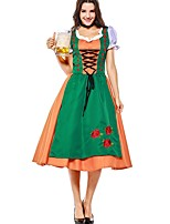 cheap -Witch Oktoberfest/Beer Cosplay Costume Halloween Carnival Oktoberfest Festival / Holiday Halloween Costumes Green Patchwork Vampires
