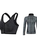 abordables -Femme Activewear Set Manches Longues Respirabilité Soutien-Gorges de Sport Sweat à capuche pour Jogging Fitness Polyester Violet Fuchsia