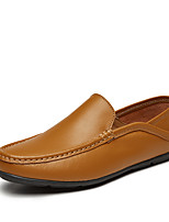 cheap -Men's Shoes Nappa Leather Summer Fall Comfort Loafers & Slip-Ons for Casual Office & Career White Black Yellow Dark Brown