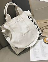 cheap -Women's Bags Canvas Shoulder Bag Zipper for Casual White / Black