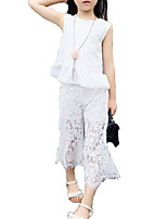cheap -Girls' Daily Holiday Solid Colored Print Clothing Set, Polyester Summer Sleeveless Basic Sophisticated White Black