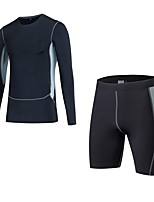 cheap -Men's Activewear Set Long Sleeves Short Pant Breathability Clothing Suits for Fitness Polyester White Black Blue Red/White Grey S M L XL