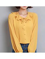 abordables -Chemisier Femme,Couleur Pleine Style classique Mignon Basique