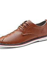 cheap -Men's Shoes Cowhide Leatherette Nappa Leather Spring Moccasin Comfort Oxfords Walking Shoes for Casual Outdoor Black Brown Khaki