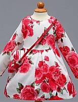 abordables -Vestido Chica de Diario Escuela Floral Bloques Algodón Manga Larga Primavera Verano Bonito Casual Rojo