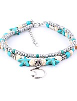 cheap -Bohemian Bikini Turquoise Silver Plated Anklet - Women's Turquoise Bohemian Bikini Moon Starfish Silver Plated Alloy Anklet For Gift