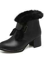 Недорогие -Жен. Обувь Полиуретан Зима Зимние сапоги Ботинки На толстом каблуке Круглый носок Ботинки для Повседневные Черный Желтый Зеленый
