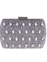 cheap -Women's Bags Polyester Metal Evening Bag Buttons Crystal Detailing for Wedding Event/Party All Seasons Blue Gold Silver