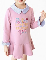 cheap -Girl's Daily Floral Dress, Cotton Polyester Spring Fall Long Sleeves Simple Cute White Blushing Pink