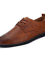 baratos -Homens sapatos Couro Primavera Outono Conforto Oxfords para Casual Preto Marron
