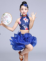 abordables -Danse latine Tenue Entraînement Polyester Combinaison Ruché Sans Manches Taille basse Jupes Haut