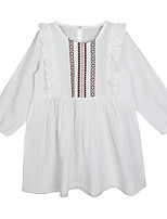 cheap -Girl's Daily Solid Print Dress, Cotton Spring Summer Long Sleeves Simple Casual White