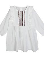 abordables -Robe Fille de Quotidien Couleur Pleine Imprimé Coton Printemps Eté Manches Longues simple Décontracté Blanc