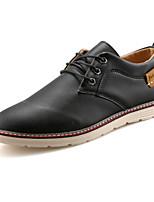 Недорогие -Муж. обувь Полиуретан Весна Осень Удобная обувь Туфли на шнуровке для Повседневные Черный Коричневый Синий