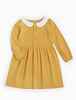 cheap -Girl's Daily Solid Dress, Cotton Spring Summer Long Sleeves Simple Yellow