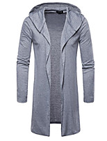 cheap -men's daily simple solid hooded hoodie long, long sleeves summer cotton polyester