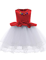 cheap -Girl's Daily Going out Solid Colored Dress, Cotton Polyester Spring Summer Sleeveless Cute Active Black Red