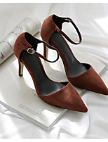 cheap -Women's Shoes Nubuck leather Spring Fall Basic Pump Comfort Heels Stiletto Heel for Casual Black Brown