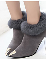 cheap -Women's Shoes PU Fall Winter Fashion Boots Comfort Boots Stiletto Heel Booties/Ankle Boots for Casual Black Gray Brown