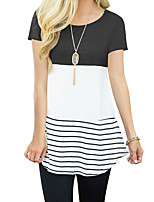 cheap -Women's Going out Basic Cotton T-shirt - Striped Color Block