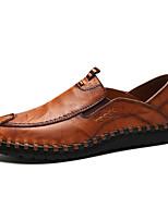 Недорогие -Муж. обувь Кожа Весна Осень Удобная обувь Мокасины и Свитер для Повседневные Офис и карьера Черный Желтый Темно-коричневый