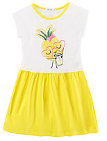 cheap -Girl's Daily Print Dress, Cotton Summer Sleeveless Simple Yellow