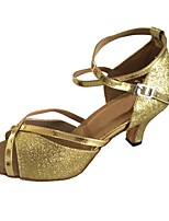 cheap -Women's Latin Sparkling Glitter Sandal Indoor Customized Heel Gold Customizable
