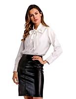 Недорогие -Жен. Офис Бант Рубашка, V-образный вырез Однотонный