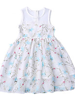 cheap -Girl's Daily Floral Dress, Cotton Polyester Summer Sleeveless Cute White