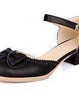 abordables -Mujer Zapatos Semicuero Primavera Otoño Innovador Confort Tacones Tacón Cuadrado Dedo redondo Pajarita para Casual Fiesta y Noche Negro