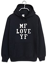 cheap -Men's Long Sleeves Hoodie - Solid Colored Letter Hooded