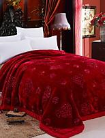 baratos -Felpudo, Jacquard Floral Poliéster / Poliamida cobertores