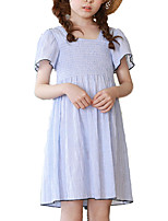 cheap -Girl's Daily Striped Dress, Polyester Summer Short Sleeves Simple Light Blue