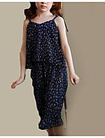 cheap -Girls' Daily Floral Clothing Set, Polyester Spring Summer Sleeveless Cute Navy Blue