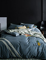 cheap -Duvet Cover Sets Solid 4 Piece Poly/Cotton Yarn Dyed Poly/Cotton 1pc Duvet Cover 2pcs Shams 1pc Flat Sheet